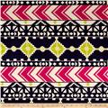 Aztec Chevron Diamond Jersey Knit Print Navy/Hot Pink