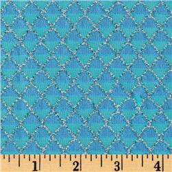 Stretch Nylon Knit Diamonds Metallic Silver/Aqua