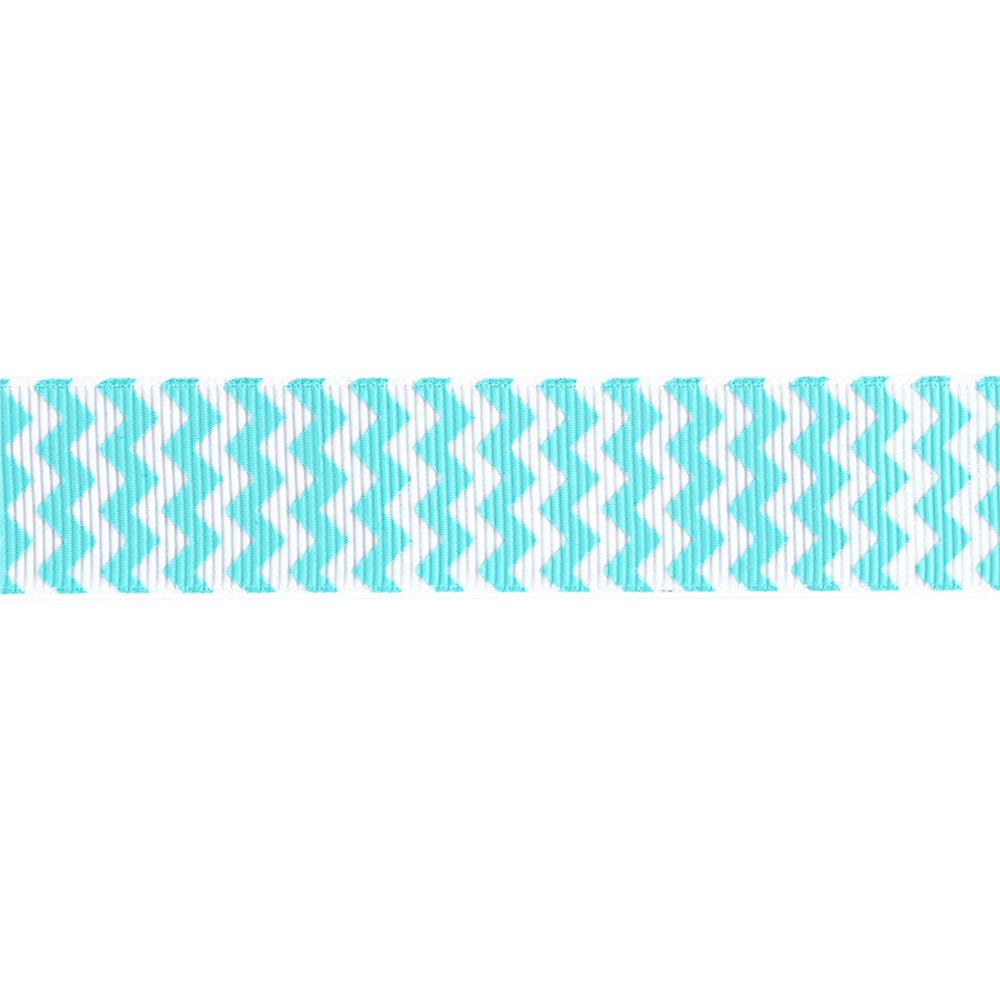 "Riley Blake 7/8"" Grosgrain Ribbon Chevron Aqua"
