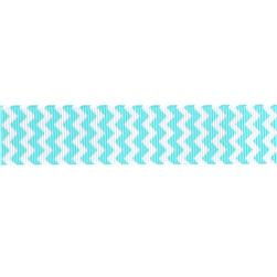 Riley Blake 7/8'' Grosgrain Ribbon Chevron Aqua