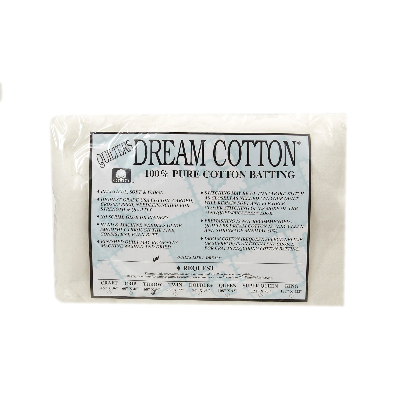 Quilter's Dream White Cotton Request Batting (60'' x 60'') Throw by Quilter's Dream in USA