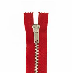 "Coats & Clark Fashion Aluminum Closed Bottom Zipper 7"" Red"