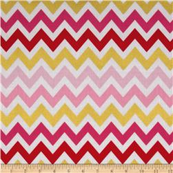 Remix Metallic Large Chevron Fuchsia Fabric