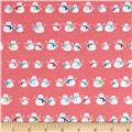 Riley Blake Cotton Jersey Knit Cozy Christmas Snowmen Pink
