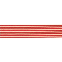 "May Arts 1 1/2""  Grosgrain Stripes Ribbon Spool Red/Ivory"