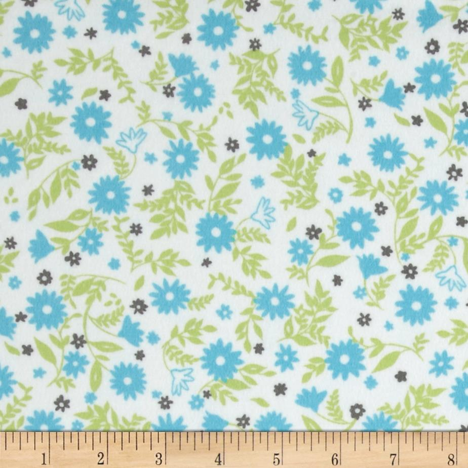 Cozy Cotton Flannel Flowers Aqua
