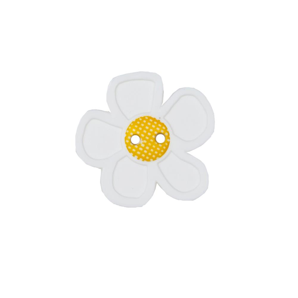 "Dill Novelty Button 1 1/8"" Flower White"