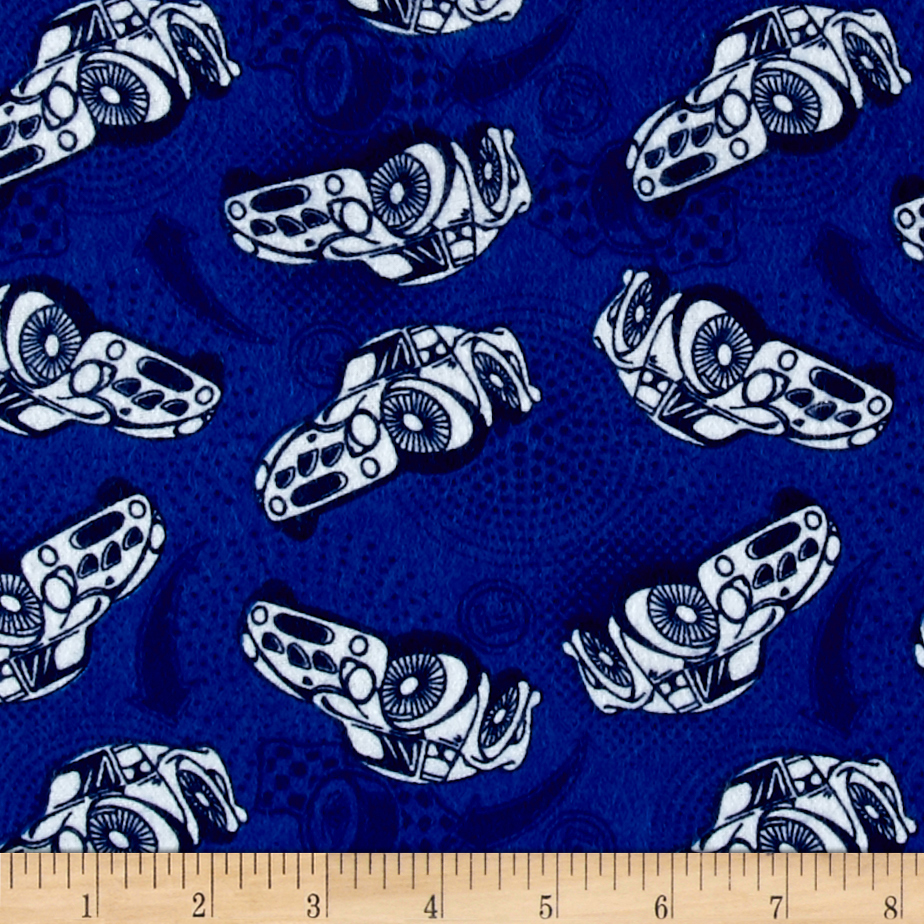 Flannel Race Car Blue Fabric by Eugene in USA