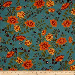 Moda Perfectly Seasoned Large Floral Teal