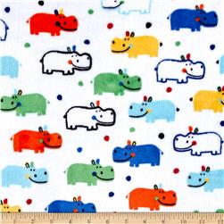 Shannon Minky Cuddle Prints Happy Hippo Multi