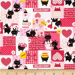 Kokka Lovely Kitten Patchwork Pink