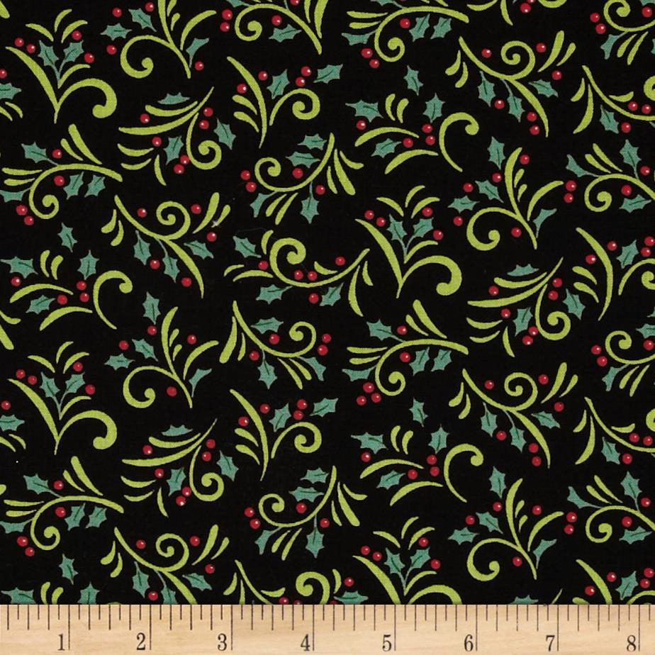 Moda Be Jolly Holly Berry Swirls Button Black