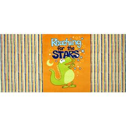 Minky Reaching for the Stars Panel Orange Fabric
