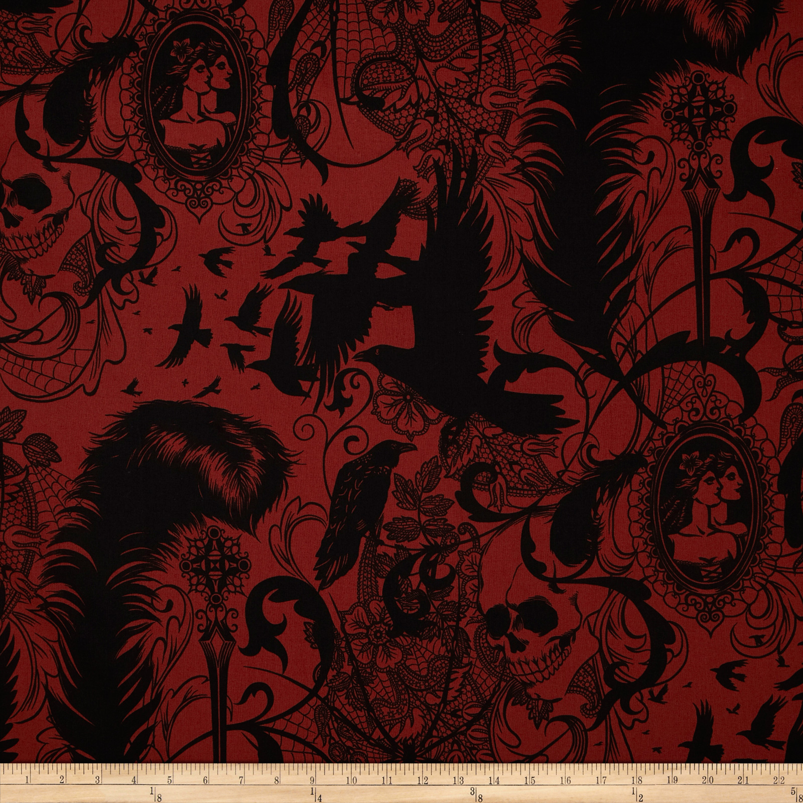 Image of After Dark Skull & Spider Red Fabric