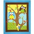 Bright Owl Quilt Top Panel Blue/Multi