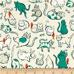 Cotton + Steel Cat Lady Schmitties Teal