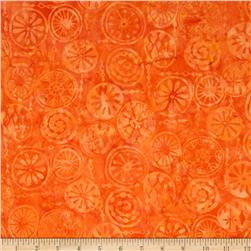 Bali Batiks Handpaints Mod Circles Orange Fabric