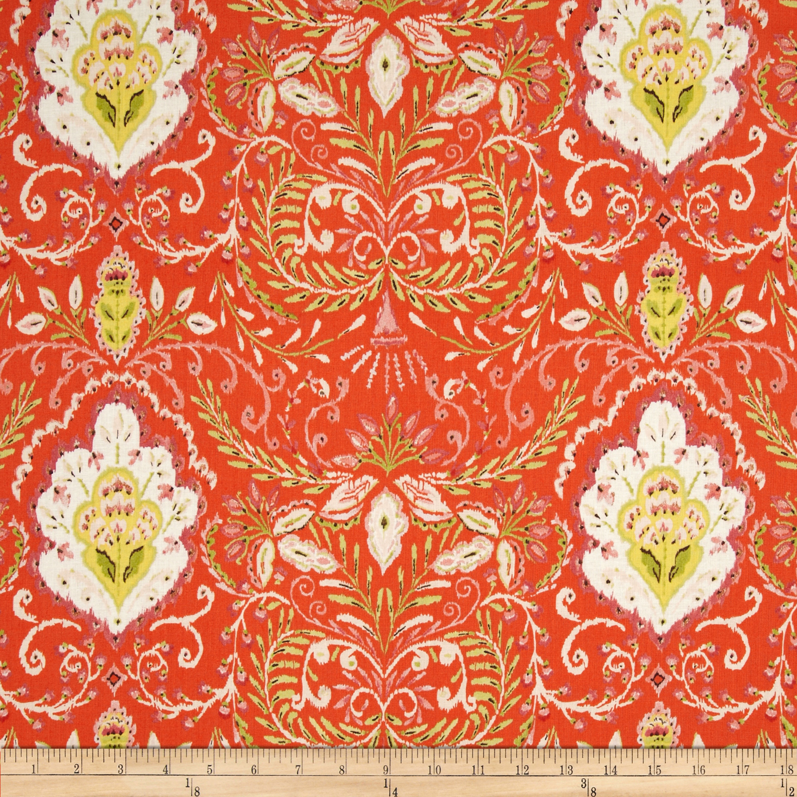 Tangier Ikat Vine Orange Fabric