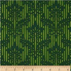 Christmas Peace Metallic Damask Green