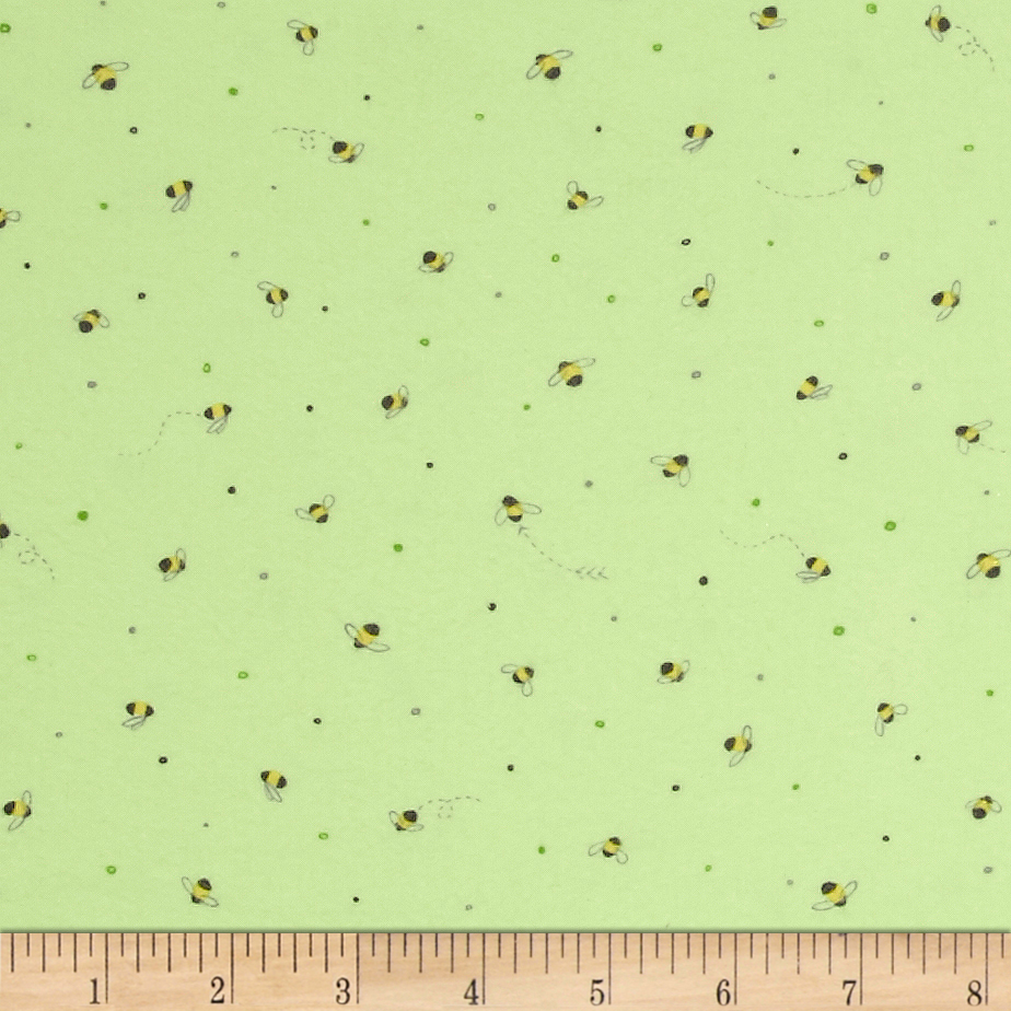 Ink & Arrow Little Buggers Flannel Tiny Bees Light Green Fabric by Quilting Treasures in USA
