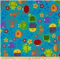 Underwater Friends Flannel Allover Animals Blue