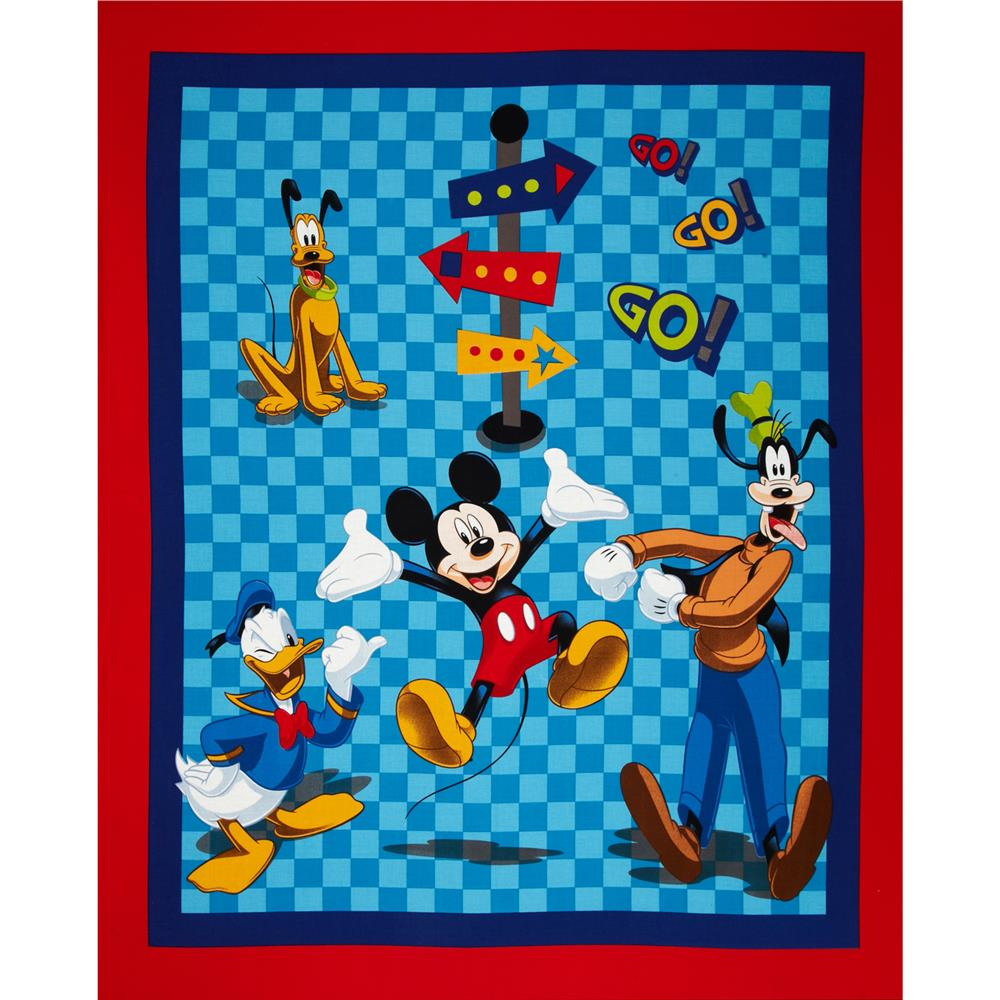 Disney Mickey & Friends On the Go Panel Blue Fabric By The Yard