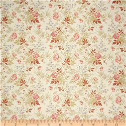 French General Floral Linen Rouge