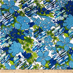 Jersey Knit Large Floral Green Blue