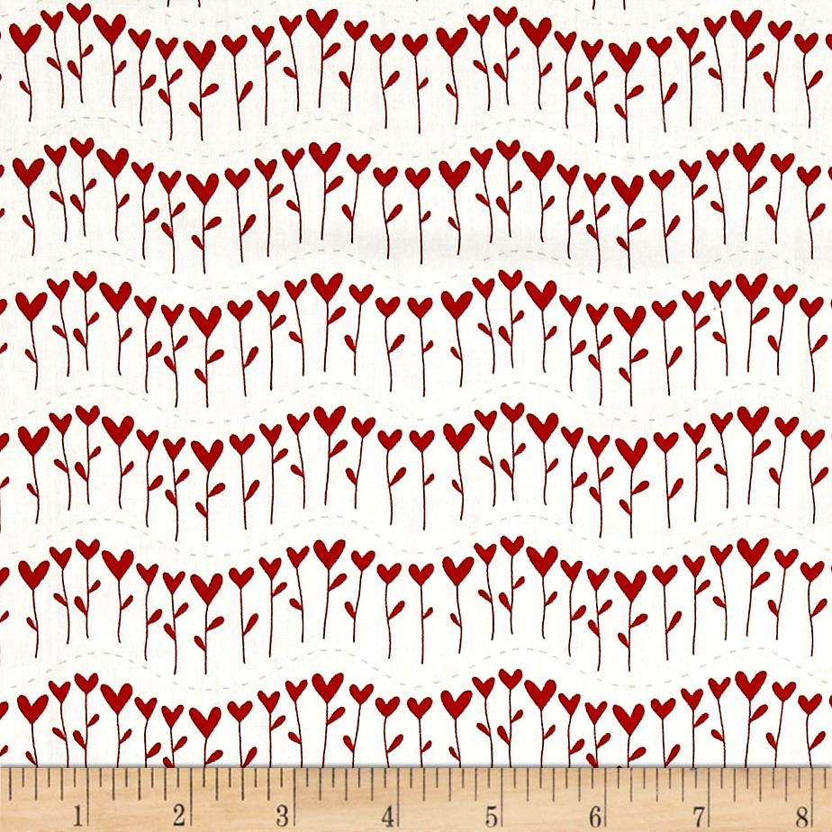 Moda #Love Row of Flowers White/Red