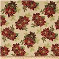 Good Tidings Paisley Poinsettia Cream/Gold
