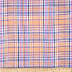 Kaufman Cape Cod Seersucker Plaid Salmon Fabric