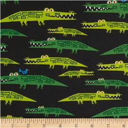 Cloud 9 Organic Happy Drawing Alligators Green Fabric