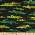 Cloud 9 Organic Happy Drawing Alligators Green