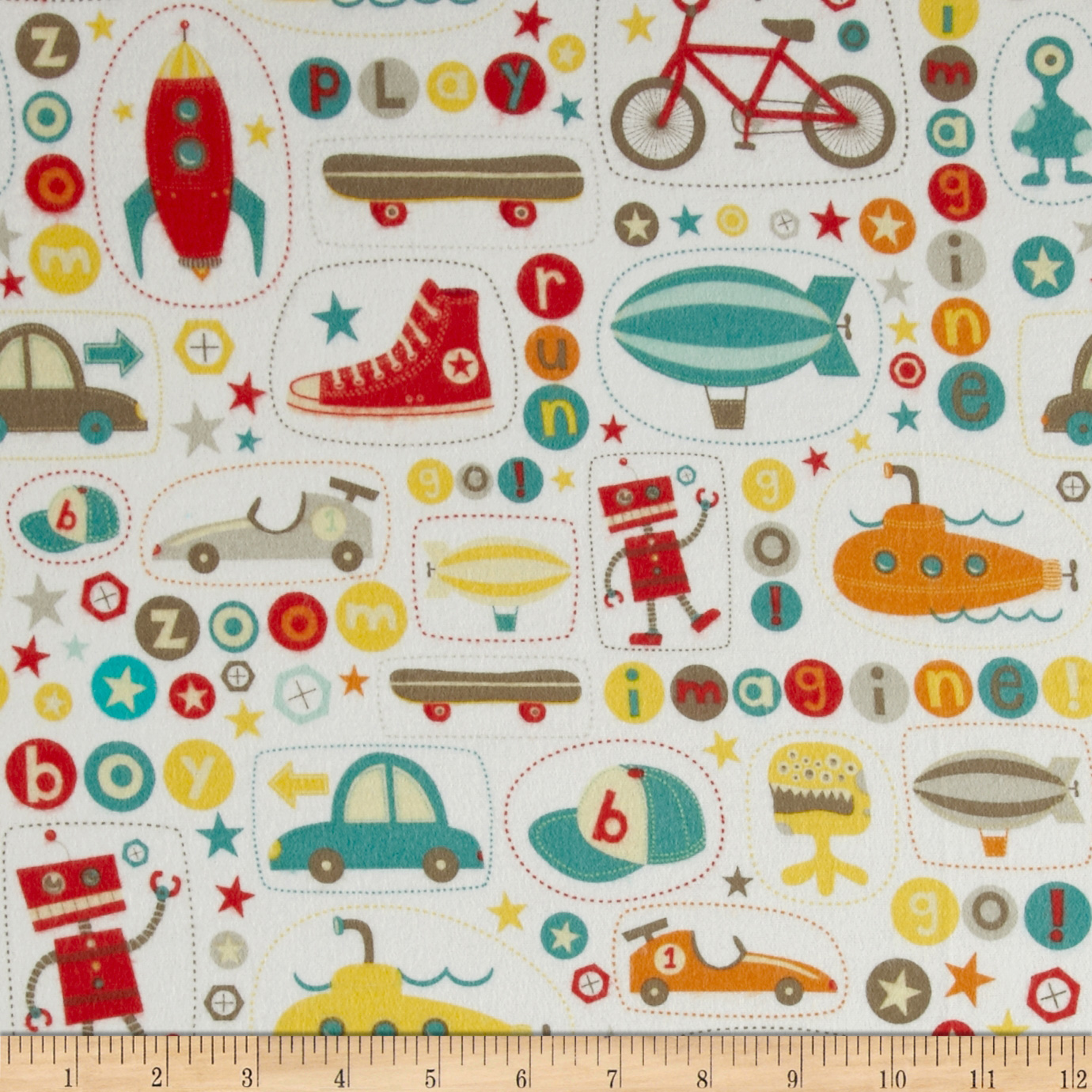Riley Blake Boy Crazy Flannel Main White Fabric