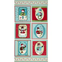 "Happy Holidays Snowmen Pillows 24"" Panel Multi"