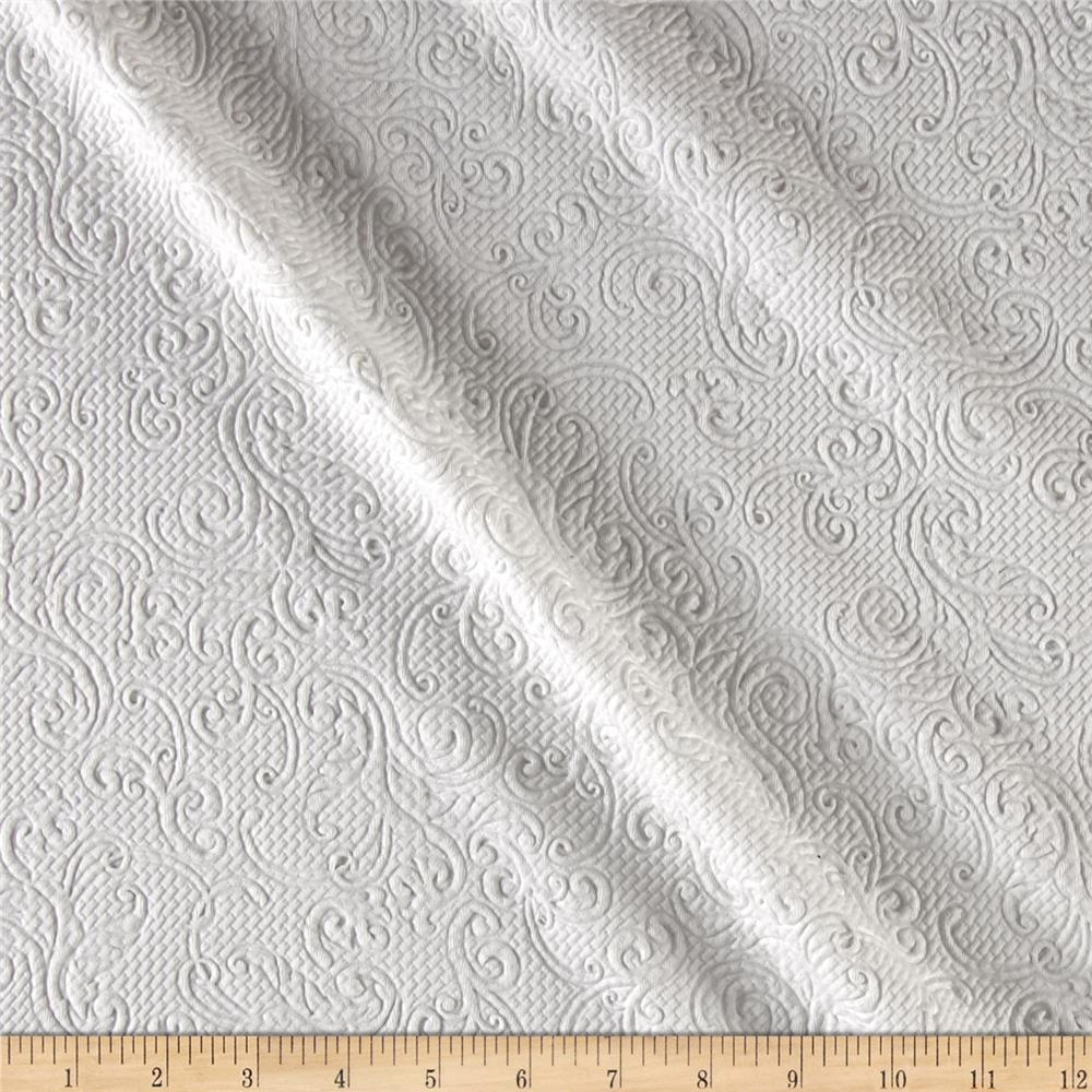 Quilted Liverpool Double Knit Swirly Vine White