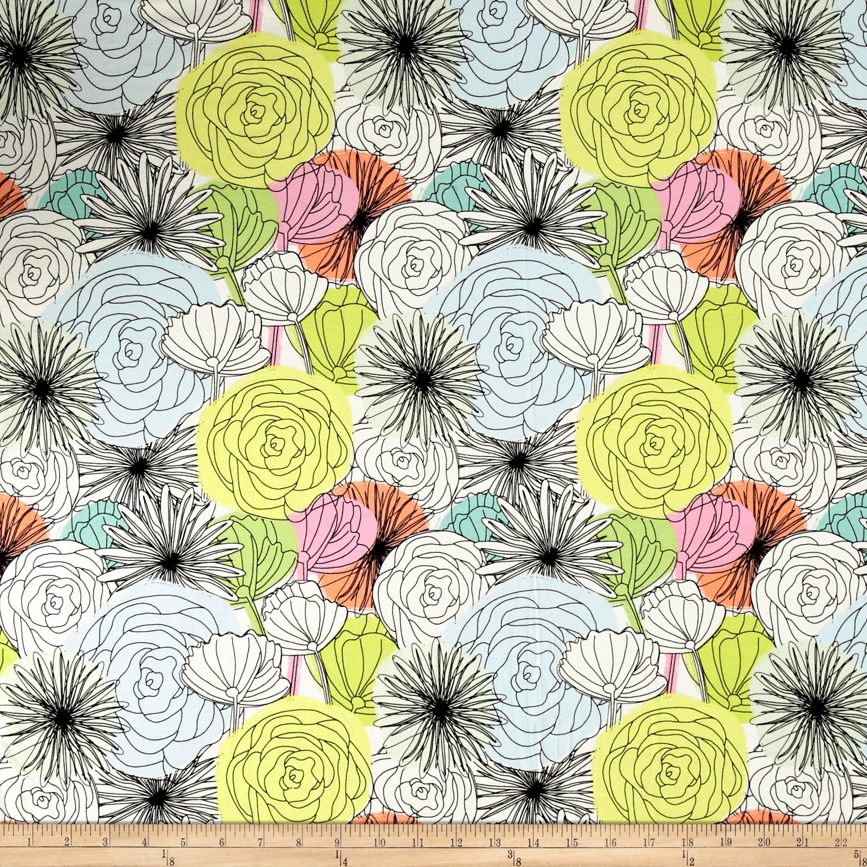 Art Gallery Here Comes the Fun Jersey Knit Bloom Montage Light Fabric by Art Gallery in USA