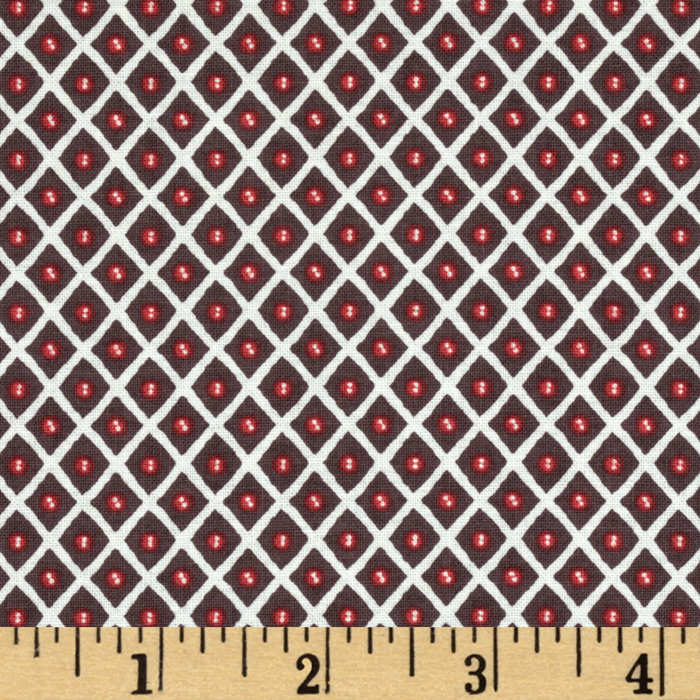 Feather N Stitch Trellis Brown Fabric