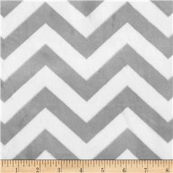 Minky 3/4'' Chevron Silver/White Fabric