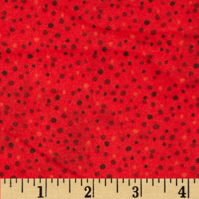 Essentials Flannel Petite Dots Red Fabric by MM Fab in USA