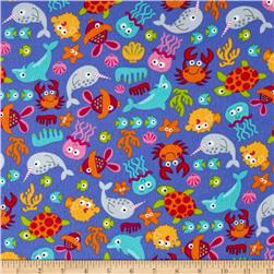 Timeless Treasures Sunkissed Swimmers Flannel Sea Creatures