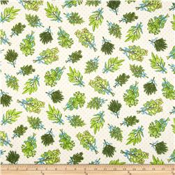 Herb Garden Tossed Herbs Cream Fabric