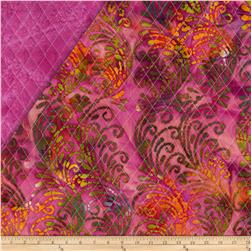 Indian Batik Double Sided Quilted Vertical Vine Multi/Fuschia