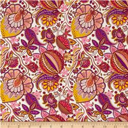 Liberty of London Kensington Crepe de Chine Citronella Cream/Purple/Yellow