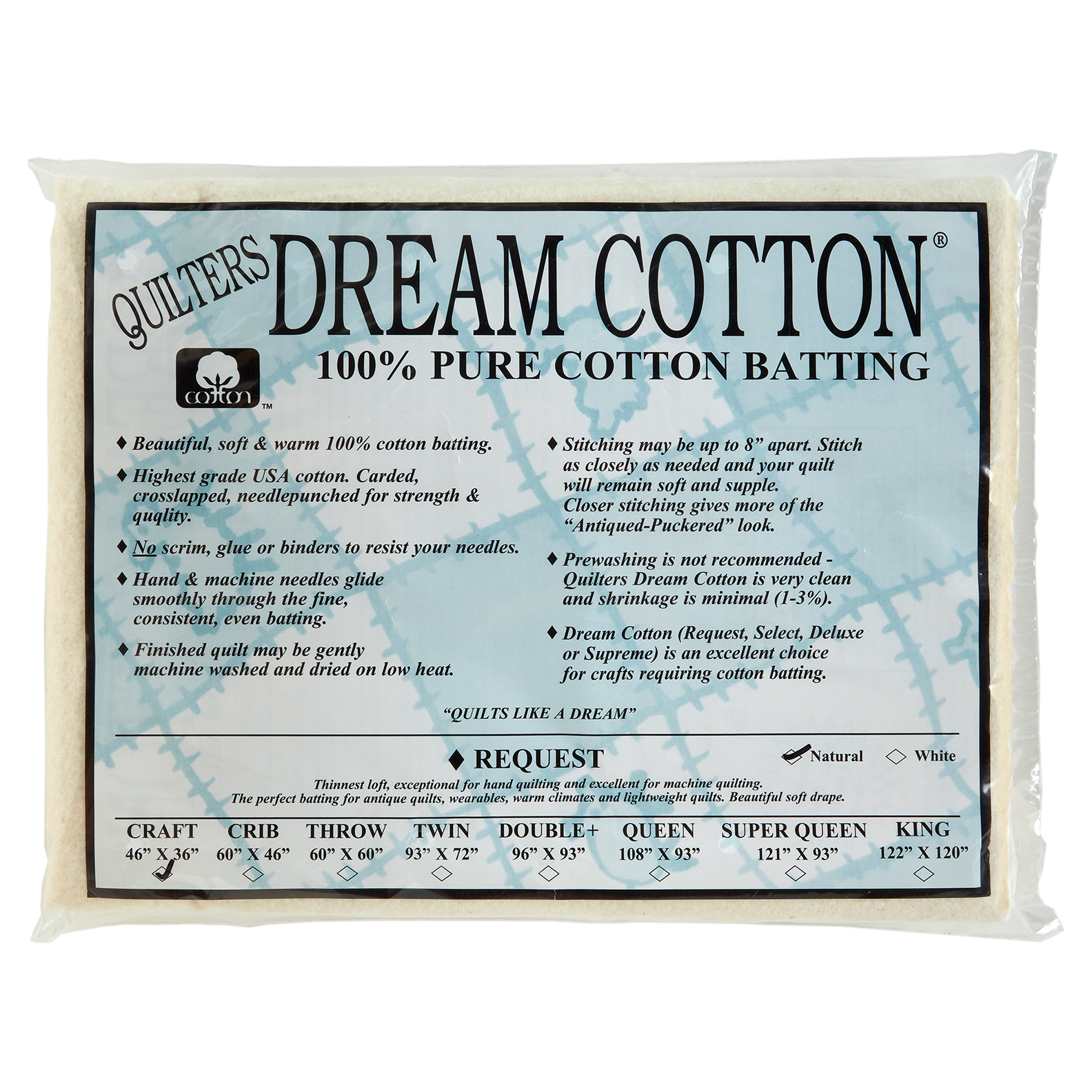 Quilters Dream Natural Cotton Request Batting (46'' x
