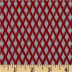 Pearle Silver Opalescent Ikat Red Fabric
