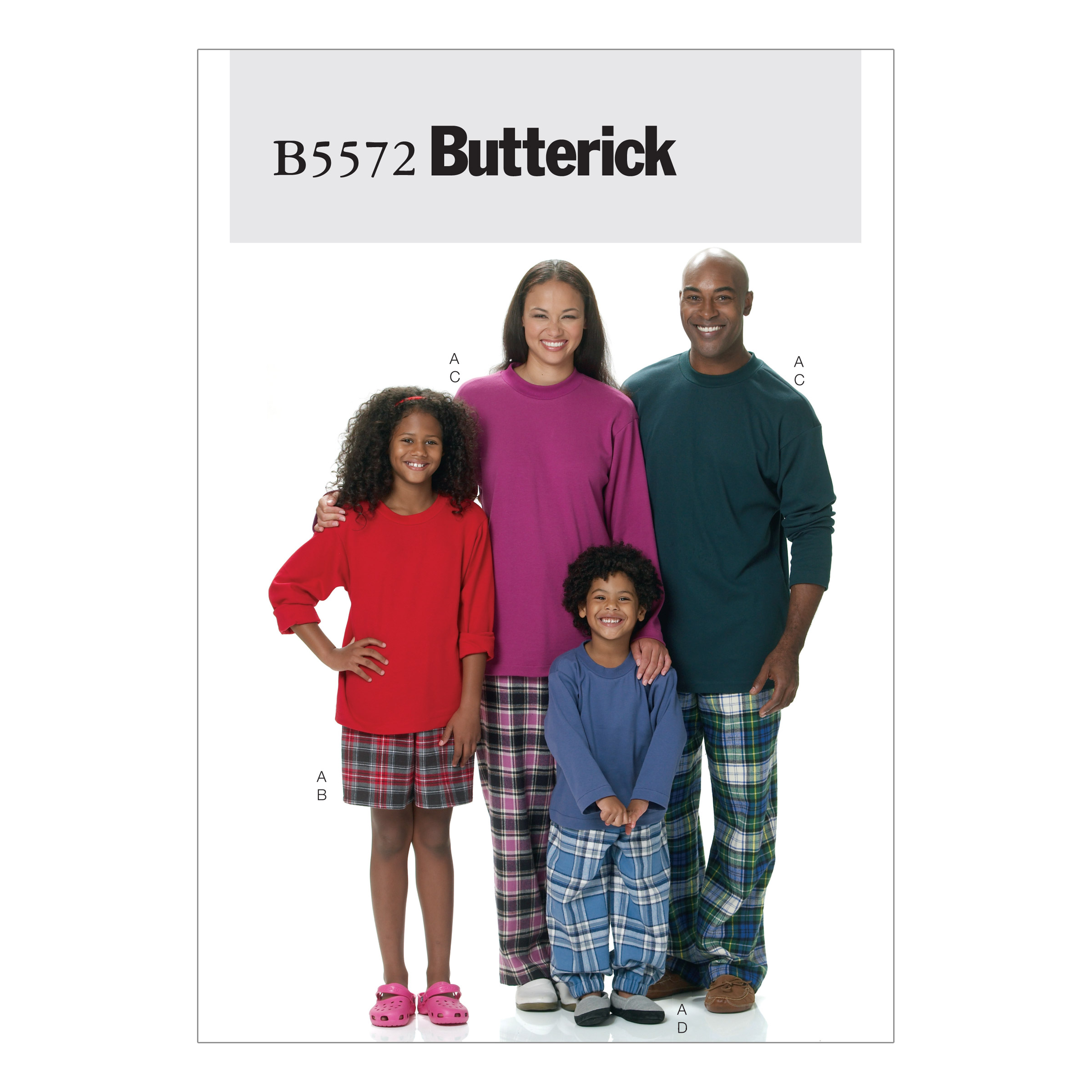 Image of Butterick Misses'/Men's/Children's/Boys'/Girls' Top Shorts and Pants Pattern B5572 Size ADT