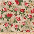 Kaufman Heirloom Diary Flowers Antique