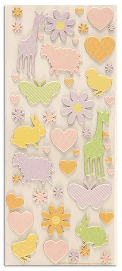 Martha Stewart Crafts Girl Flower And Animal Flocked Chipboard Stickers