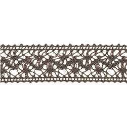 "1 1/2"" Crochet Lace Ribbon Pewter"